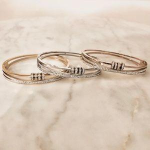 Womens Diamond CZ Ring Charm Crossover Bracelet
